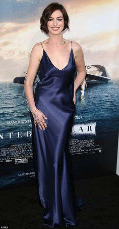 Stunning stars: Hathaway made a splash at the Interstellar premiere at the TCL Chinese Theatre IMAX in Hollywood on Sunday