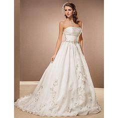 A-line Strapless Chapel Train Kapok Yarn Wedding Dress  – USD $ 247.99