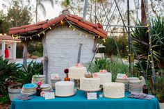 wedding cake tables - photo by The Melideos http://ruffledblog.com/leo-carrillo-ranch-wedding