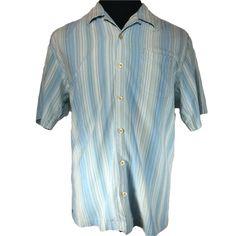 Tommy Bahama Silk Hawaiian Shirt Mens LARGE Blue White Striped Short Sleeve #TommyBahama #Hawaiian