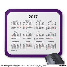 2017 Purple Holiday Calendar by Janz Mouse Pad