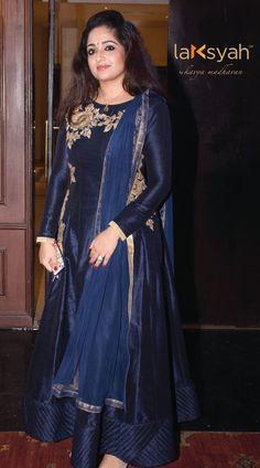 Kavya Madhavan wearing AZELIA in Navy by Laksyah by Kavya Madhavan Indian Fashion Dresses, Indian Designer Outfits, Designer Dresses, Fashion Outfits, Women's Fashion, Silk Kurti Designs, Salwar Designs, Anarkali Dress, Anarkali Suits