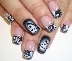 black muerta french by Pilar - Nail Art Gallery nailartgallery.nailsmag.com by Nails Magazine www.nailsmag.com #nailart