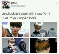 Literally if I ever met our Jungkookie I'd be really afraid to call him oppa cause I look older than I actually am