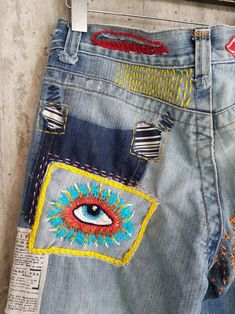 Distressed Vintage Boyfriend Jeans/Hipster Jeans/All Sizes/Grunge Jeans/boho/vintage jeans/womens jeans Vintage Jeans, Boho Vintage, Embroidery On Clothes, Embroidered Clothes, Jean Embroidery, Jeans With Embroidery, Diy Embroidered Jeans, Embroidery Ideas, Grunge Jeans