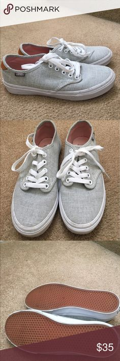 Off the wall Vans sneakers 7 Old school Vans. Size 7. Only worn about 3 times. Purchased in October for vacation. I think they are called gray linen. Nonsmoking home. Vans Shoes Sneakers