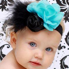 blue black chiffon flower vintage baby headband