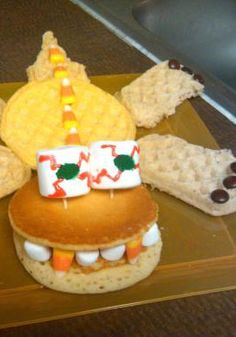 Use delicious ingredients such as Eggo Waffles, Eggo Pancakes and Eggo Wafflers to help create this fun and yummy pancake creature! Recipe courtesy of Ingrid Grunwald.