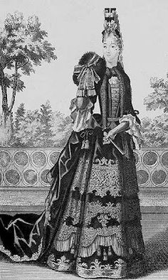 Not the right era but clearly this inspired the bustled silhouettes of the and 17th Century Clothing, 17th Century Fashion, 17th Century Art, Historical Art, Historical Costume, Historical Clothing, Female Clothing, Gun Gale Online, Louis Xiv