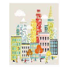 New York Art Print Skyline, Wall Art Paper Poster, Cityscape Illustration, Decor for Home, Office and Nursery, Christmas Gift, SPPNYM1