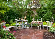 Charming outside buffet by The Gathering of Friends -- their cookbooks are terrific and all 5 of them have gorgeous photos
