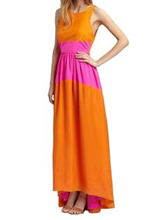 Sleeveless Color Block Backless Maxi Dress - ORANGE ONE SIZE(FIT SIZE XS TO M) Mobile