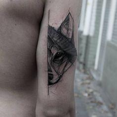 Half Wolf Tattoo by kamilmokot