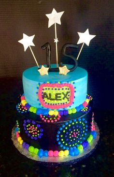 Neon themed Happy Birthday Cake