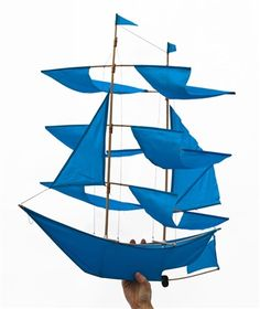 Sailing #Ship Kite -- A fabulous work of art out of the blue! This #sailing ship #kite will soar on the wind, and it makes a fantastic decorative mobile indoors.