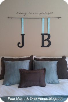 Quick & Easy Display for above the bed!  Love this idea Jen!!!!