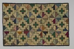 hooked rug - Textile Museum of Canada- geometric 122 cm x 79 cm