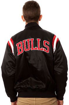 The Chicago Bulls Division Satin Jacket in Black by Mitchell