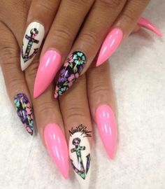 Pink floral anchor stiletto claw nails