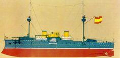 Acorazado Pelayo. Fué un buque acorazado multicalibre construido para la Armada Española a finales del siglo XIX por los astilleros Forges et Chantiers de la Mediterranée en Tolón, Francia