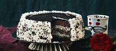 Salmiakki-lakukakku   Makeat leivonnaiset   Reseptit – K-Ruoka Frozen Party, Piece Of Cakes, Yams, Butter Dish, Liquor, Halloween Party, Sweet Tooth, Deserts, Tasty