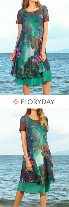 Floral Short Sleeve Knee-Length A-line Dress, floral dress, short sleeve, knee-l. - Lilly is Love Cute Outfits With Jeans, Pretty Outfits, Pretty Dresses, Beautiful Outfits, Cool Outfits, Short Outfits, Short Sleeve Dresses, Leather Leggings Look, Look Fashion
