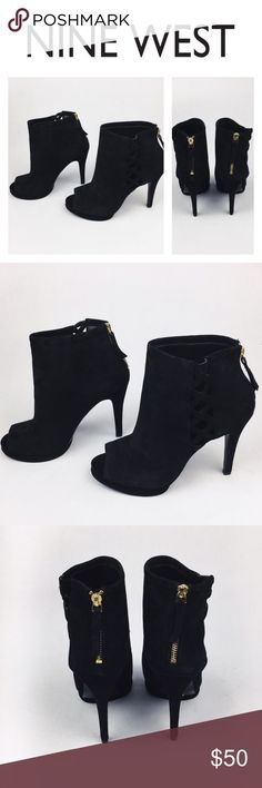 NINE WEST ANKLE SUEEDE OPEN TOE BOOTS SZ11 Gorgeous Nine West peep toe suede black bootie in size 11. Brand new, never worn. Beautiful and perfect to wear with everything! They come without a box so they might have some handling signs. Love them? Make an offer! Questions? Ask me 😉 Nine West Shoes Ankle Boots & Booties