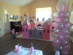 Pink and Silver Balloon Column for a Doodle Ducks Pony Party at the Palace.