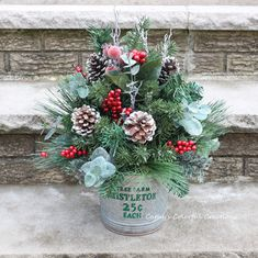Excited to share this item from my shop: Christmas Farmhouse, Christmas Centerpiece, Farmhouse Centerpiece, Galvan Christmas Planters, Christmas Greenery, Christmas Arrangements, Christmas Porch, Christmas Centerpieces, Outdoor Christmas, Rustic Christmas, Christmas Wreaths, Christmas Crafts