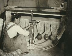 Woman weaving a Chilkat blanket, Alaska, ca. 1905, UW Library American Indians of the Pacific Northwest Collection