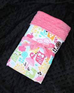 Pink Minky Dot with Forest Life Cotton Blanket