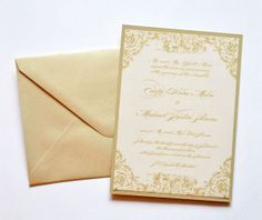 Gold Wedding Invitations, Gold and Ivory Wedding Invitations, Gold, Ivory, Champagne, Wedding Invitations  by Whimsy B. Paperie