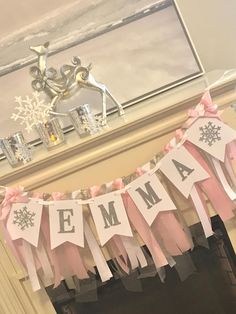 Welcome to Sparkle everything us party decorations: Celebrate your Little Girls Birthday with this Silver & Pink Winter OnerDerland Banner. *******************THIS LISTING IS ONLY FOR THE NAME BANNER***************** ****************************** GARLAND NOT
