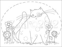 Fat Cat Embroidery Pattern