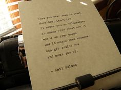 Neil Gaiman Quote Handtyped on Vintage Typewriter by DaysLongPast, $12.00 Now available! https://www.etsy.com/listing/183662812/neil-gaiman-quote-hand-typed-on-vintage?utm_source=Pinterest&utm_medium=PageTools&utm_campaign=Share