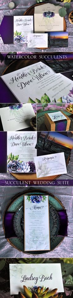 Romantic succulent wedding invitation suite from www.squaredweddingpress.com. Watercolor succulent wedding stationery design by @printableparty. Wedding succulents, purple succulents, desert wedding, Arizona wedding, Southwest wedding, Arizona bride, destination wedding, boho wedding, bohemian flowers and succulents, watercolor wedding #weddingsucculents