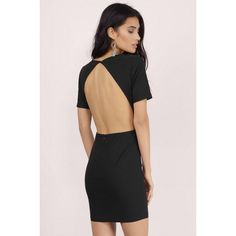 Tobi Dip Low Backless Bodycon Dress ($42) ❤ liked on Polyvore featuring dresses, black, bodycon dress, black backless dress, low dress, backless bodycon dress en plunge neck dress