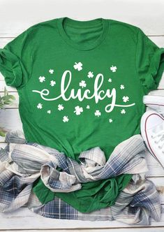 T-Shirt 3D Printed Clover Leaves St Patrick Day Design for Banner and Print Casual Tees