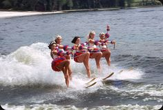 Water Skiing, Florida – 1967 | Cypress Gardens, WInter Haven, Florida. Middle girls look a little bothered... Now Legoland. There is still a ski show, but now featuring giant Lego people.  © Original 35mm Kodachrome transparency