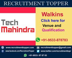 Tech Mahindra Walkins for Freshers at Hyderabad  #Walkins #WalkinsforFreshers #TechMahindraWalkins #TechMahindraWalkinsFreshers #FresherWalkins