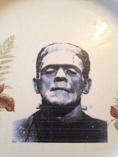 Frankensteins monster , repurposed vintage plate by fromthelittlefoxden on Etsy Frankenstein's Monster, Vintage Plates, Den, Repurposed, Halloween, Etsy, Vintage Signs, Halloween Labels, Spooky Halloween