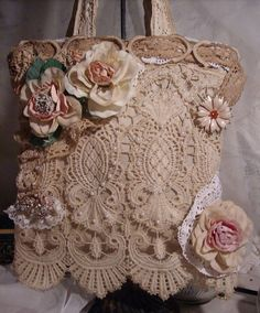 Shabby Lace bag I made for a friend of mine!