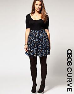 ASOS CURVE Exclusive Blue Bird Print Skirt  $62.90