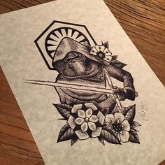Kylo Ren design available as a dotwork tattoo or as a full colour tattoo. These will be available shortly as framed prints as part of my ongoing Star Wars dotwork project. #tattoo #tattoos #tattooidea #tattoodesign #art #design #kylo #kyloren...