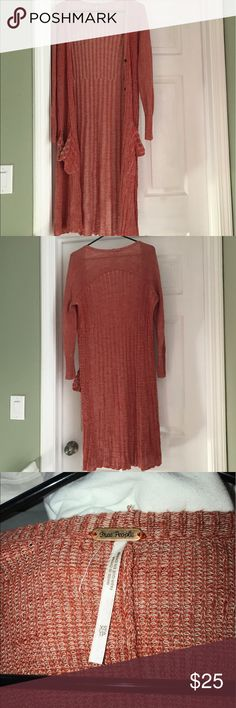 FREE PEOPLE Cardigan Super cute, long cardigan! Perfect for a cooler summer or spring day! Free People Sweaters Cardigans