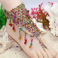 Indian Style Barefoot Sandal Adorn Extensible Foot Ring Anklet Chain