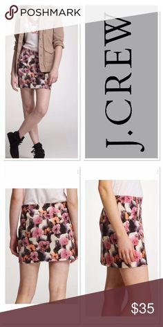 """0 J.CREW potpourri watercolor skirt Size 0 pretty j crew skirt in pink, white, coral, grey and black. Side zipper, unlined excellent condition. Worn only once.         Waist 12.5"""", hips 17.5"""", length 15.5"""" all measurements taken lying flat J. Crew Skirts Mini"""