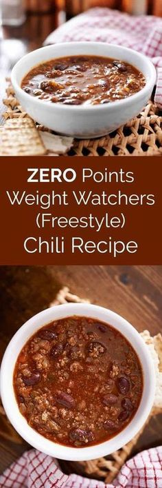 This healthy three bean and ground lean meat Weight Watchers chili recipe is ZERO points on the Freestyle program! It's filling, delicious, and EASY to make. Make in the pressure cooker or crockpot! via (crockpot turkey chili healthy) Weight Watchers Chili, Plats Weight Watchers, Weight Watcher Dinners, Weight Watchers Points, Ww Recipes, Chili Recipes, Crockpot Recipes, Cooking Recipes, Healthy Recipes