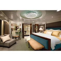 7 Cruise Ship Suites Giving Five-Star Hotel Rooms a Run For Their... ❤ liked on Polyvore featuring bedrooms, rooms and home