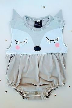 Baby Girls 3-9 month Fox Foxy Romper Onesie Ears Outfit
